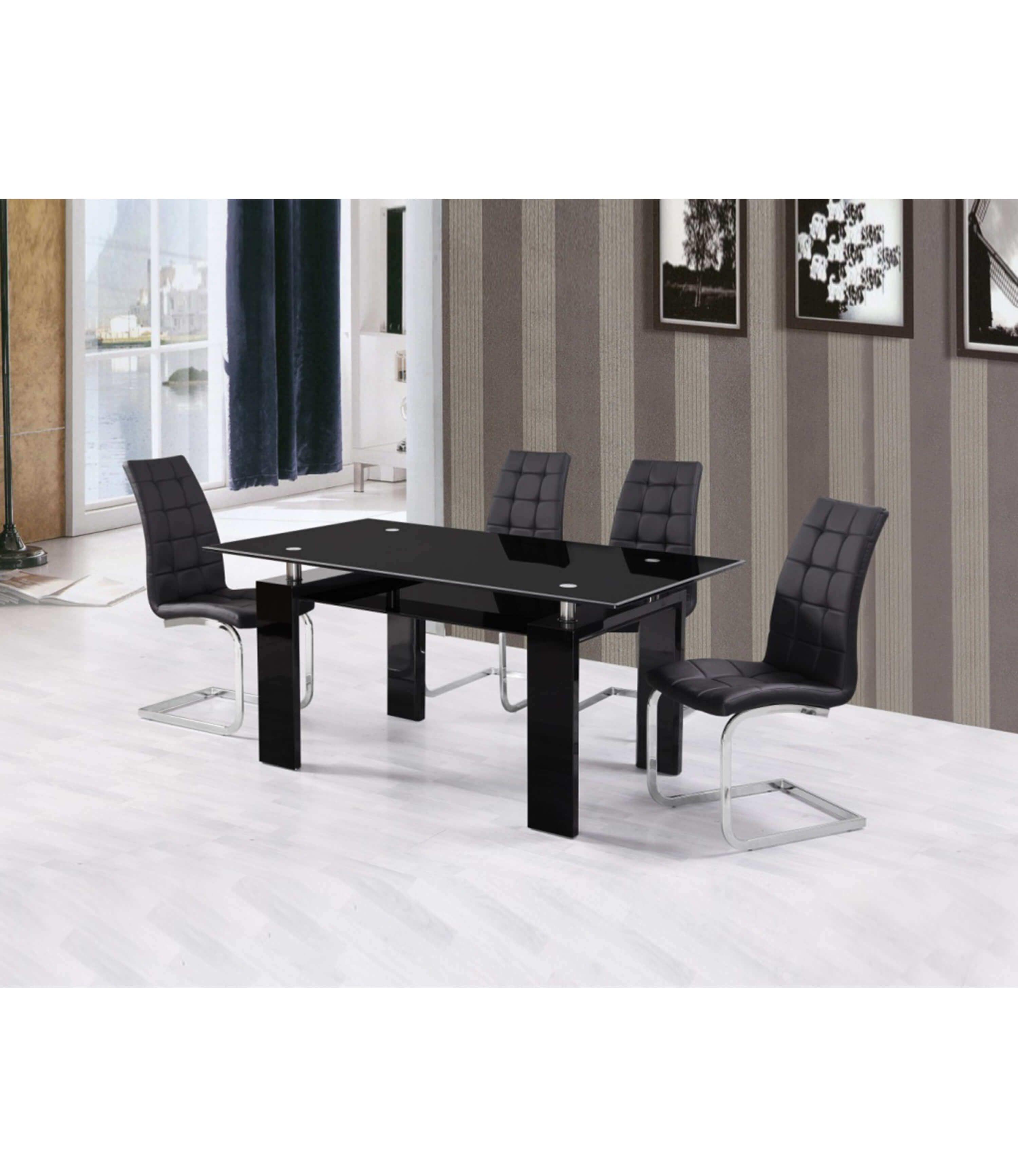 Black High Gloss Dining Table Living Room Modern Furniture