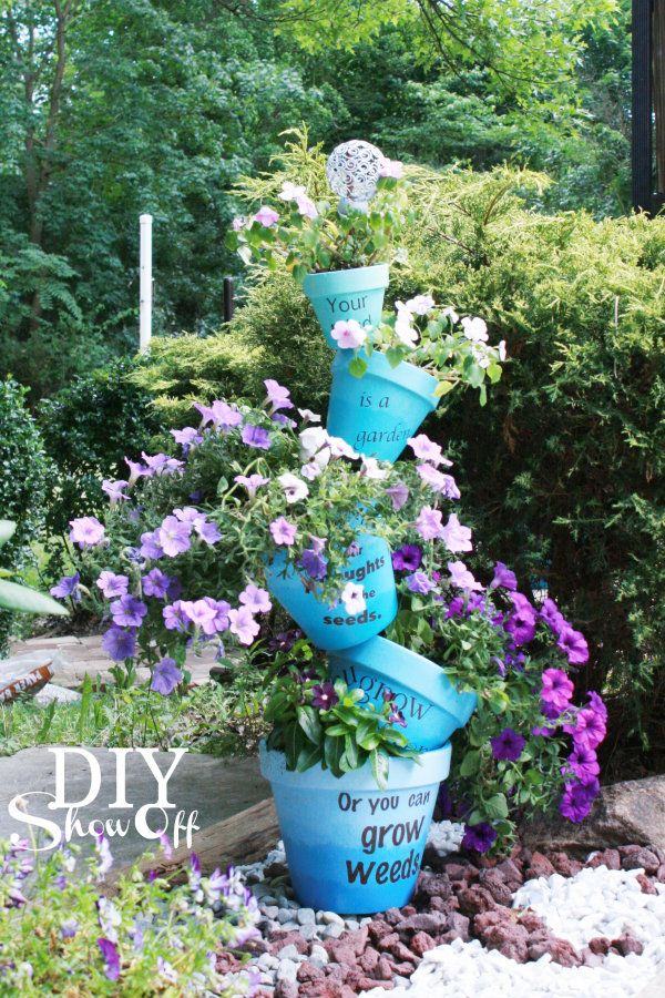 How To Make Beautiful Stacked Flower Pot Step By Step Diy Instructions Whimsical Garden Clay Flower Pots Flower Pot Garden
