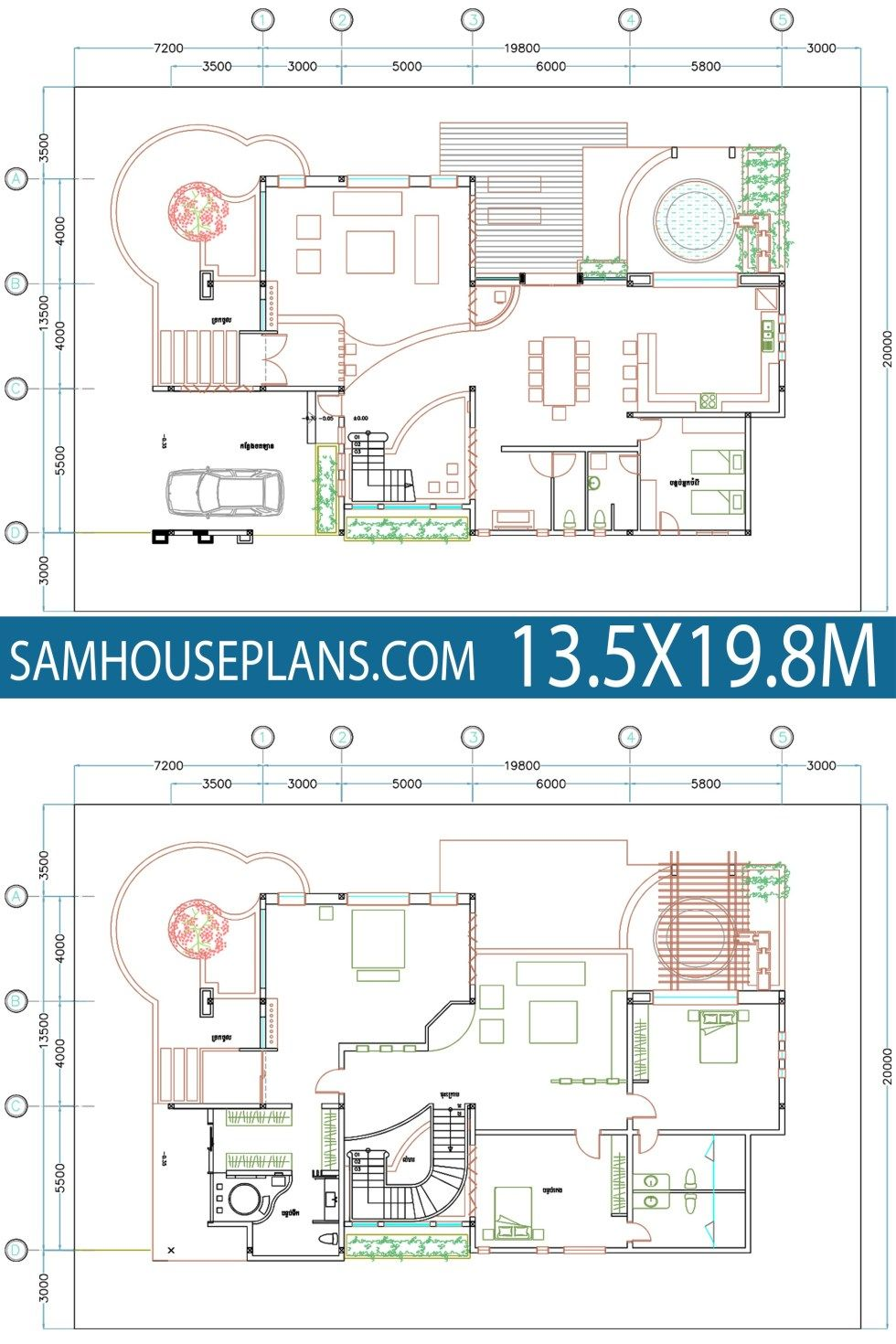 House Plan 13 5x19 8m With 4 Bedrooms Sam House Plans Indian House Plans Bungalow House Design House Plans