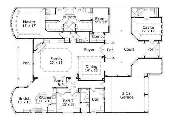 European Style House Plan 3 Beds 3 5 Baths 2793 Sq Ft Plan 411 575 House Plans Courtyard House Plans Traditional House Plans