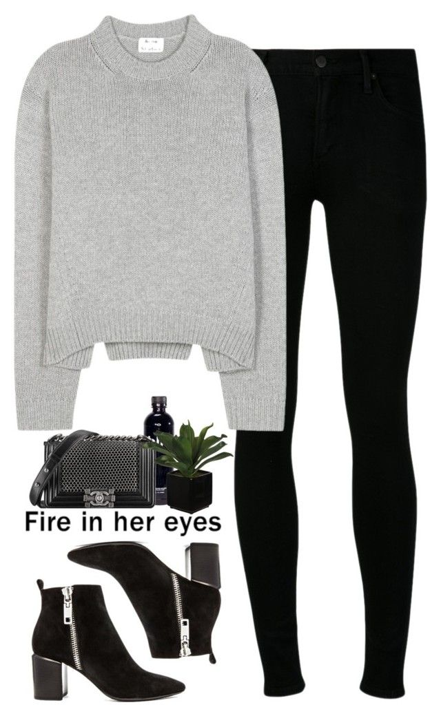 - grey and black eyes - by lolgenie on Polyvore featuring polyvore fashion style Acne Studios Citizens of Humanity Dolce Vita Chanel Franklin clothing
