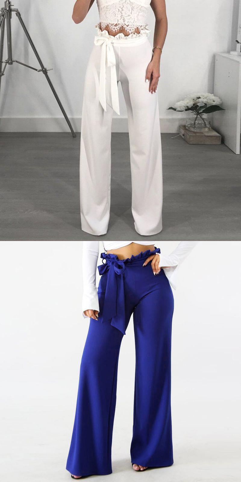 558b08e7b6448 Wide leg pants belted zipper plus size trousers women frill waist ruffle  high waist elegant ol style pants pantalon femme 2018  polyester  full   length ...
