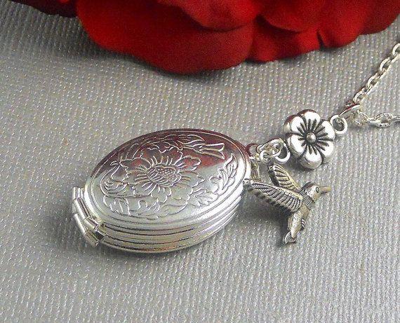1 Piece Chic Vintage Silver Pendants Carved Birds Flower Hollow Locket Necklace