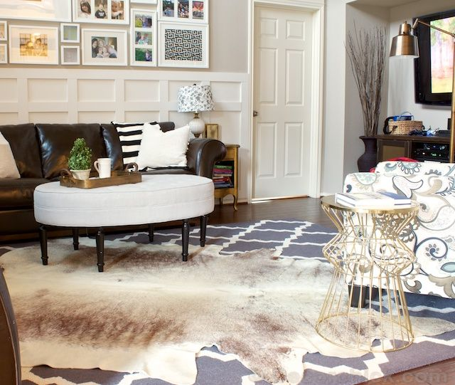A Cowhide Rug Accident With A Happy Ending Decorchick Cowhide Rug Living Room Winter Living Room Decor Rugs In Living Room