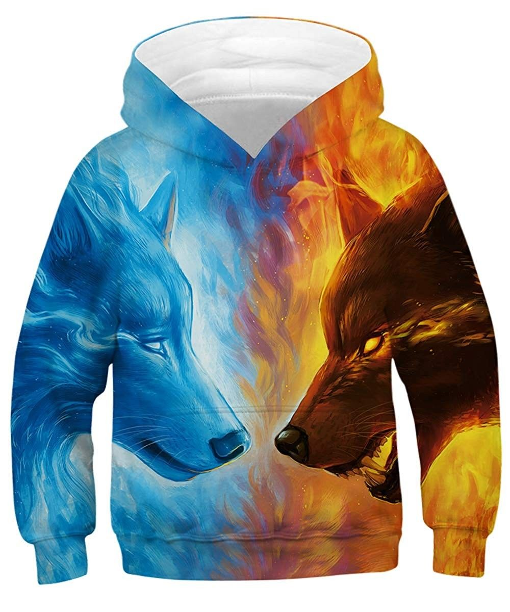 Fashion Kids 3D Hoodies Wolf Print Child Hooded Autumn Sportwear Boys Girls Pullover