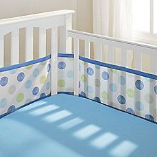 Breathablebaby Mix Match Breathable Mesh Crib Liner In Blue Swirl Dot 20 Buy Buy Baby Crib Liners Crib Bumper Set