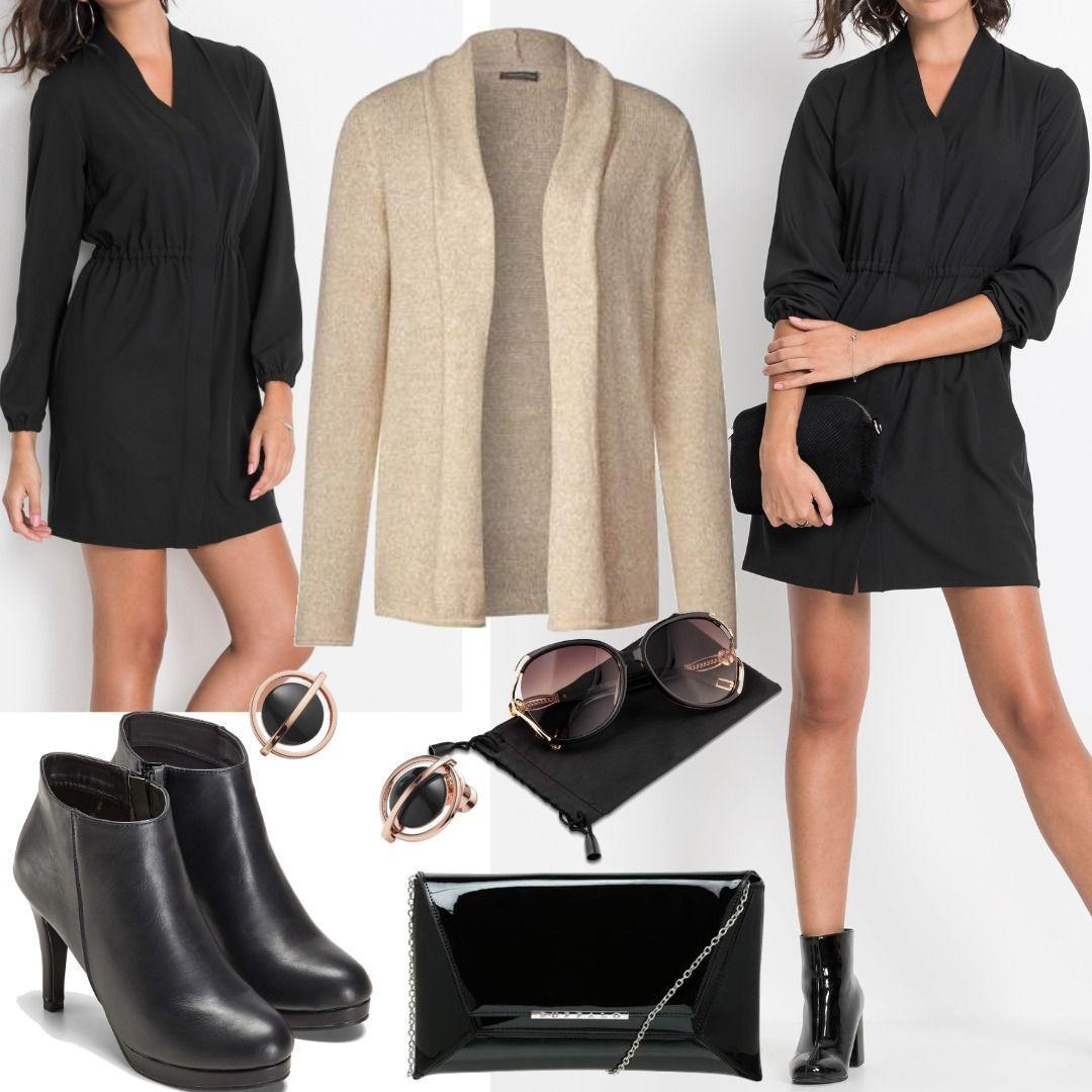 Hemdblusen-Kleid langarm in schwarz Outfit für Damen zum ...