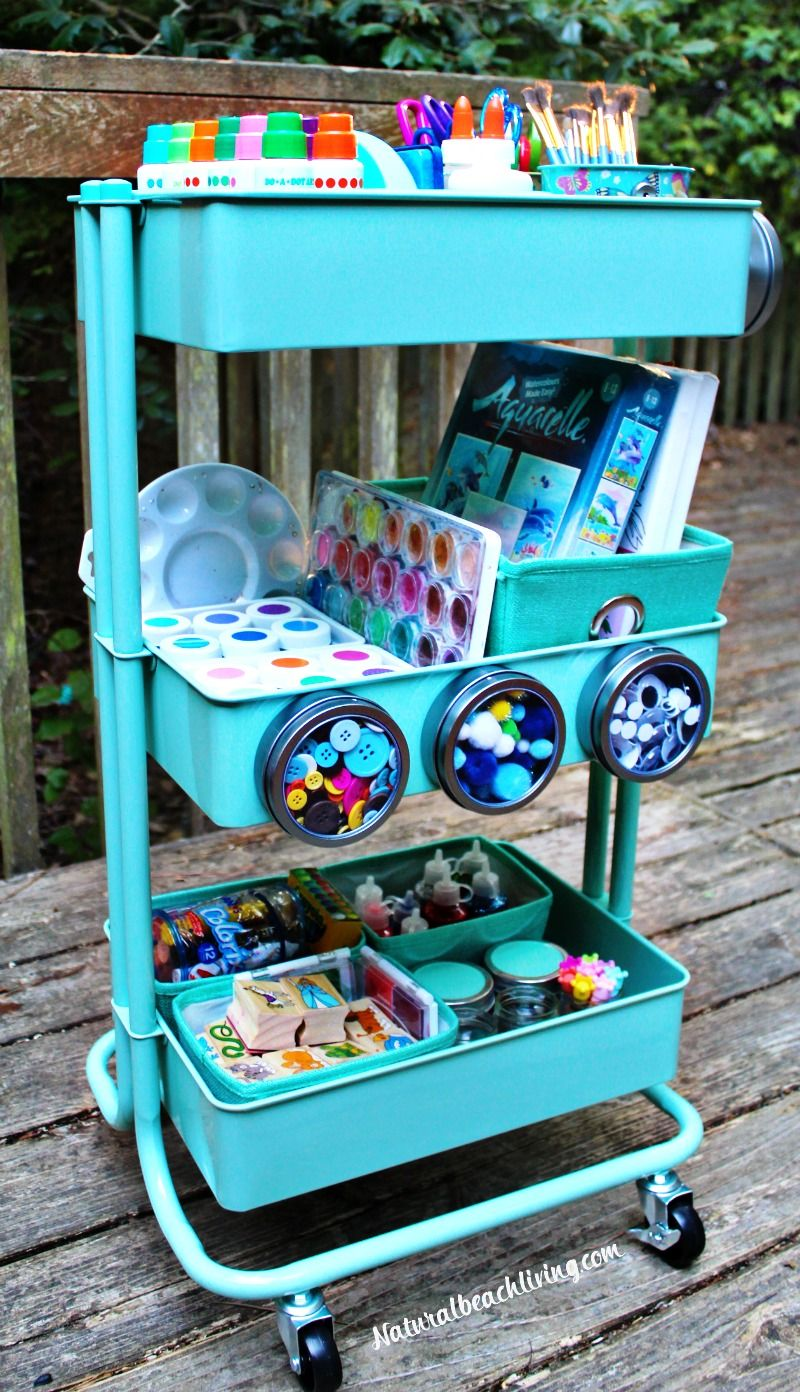 How To Set Up A Kids Arts Crafts Cart Easy Arts And Crafts Craft Cart Space Crafts