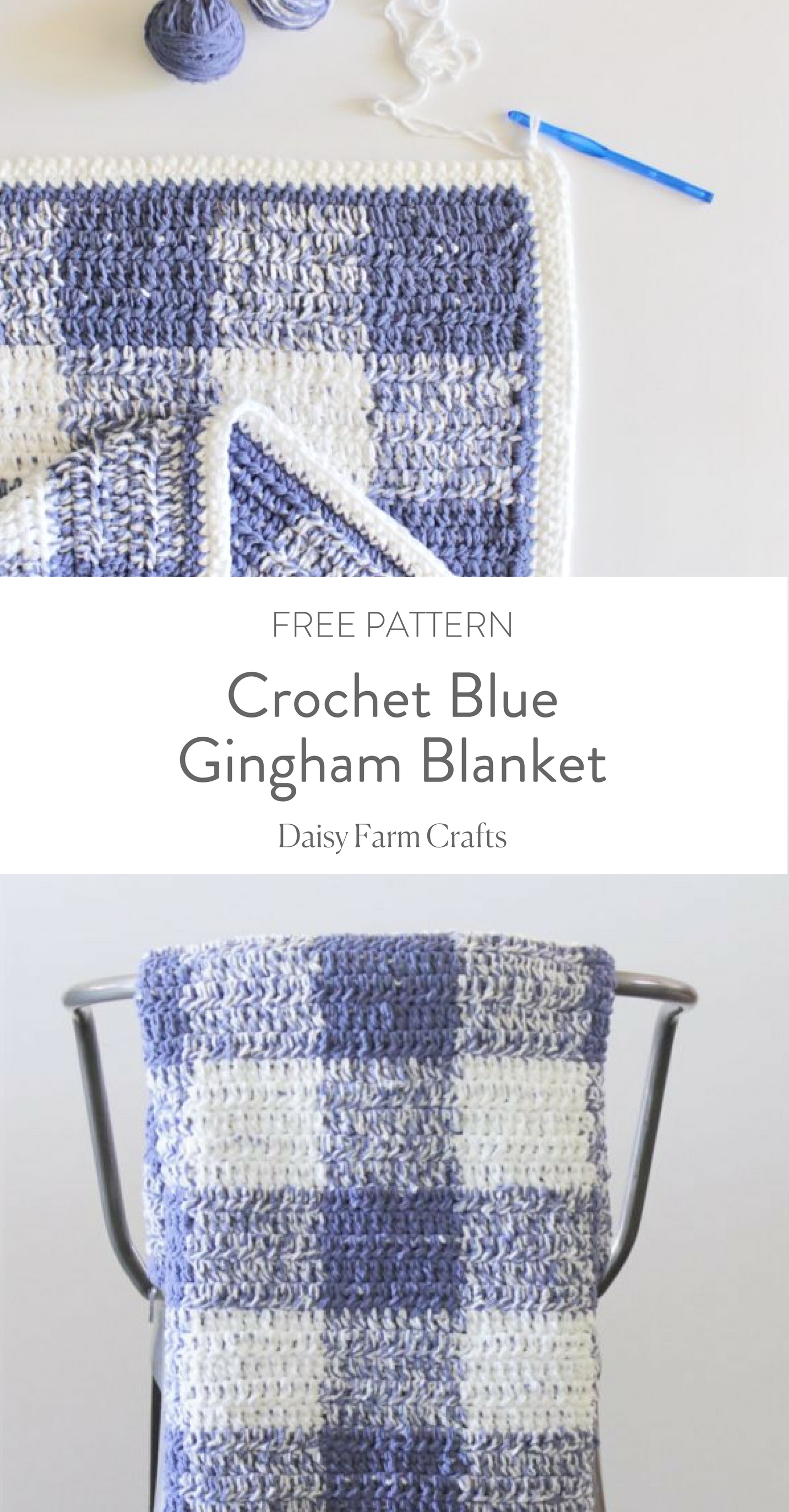 Crochet Blue Gingham Blanket - Free Pattern | Crochet | Pinterest ...