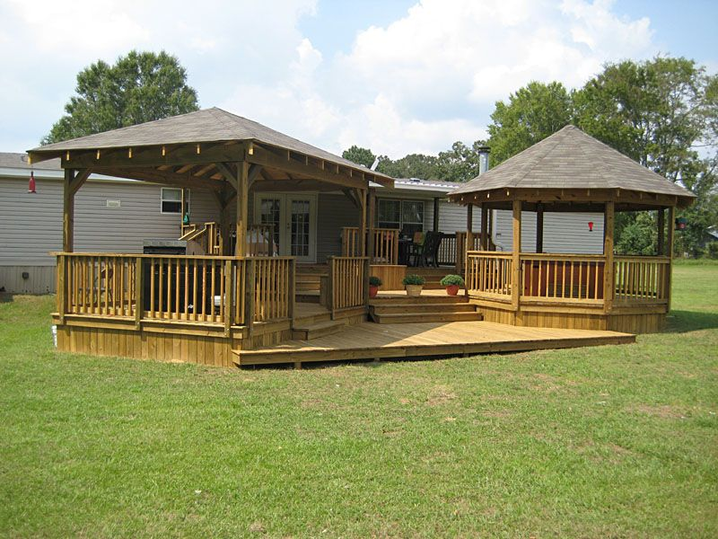Lots of ideas for porches and decking for trailers Decks and porches for mobile homes