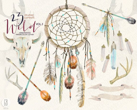Watercolor dream catcher, skull, antlers, arrows, feathers, tribal ...