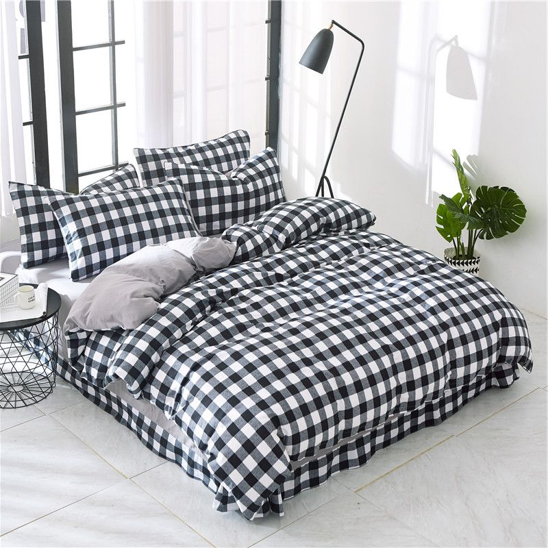 Plaid Bedding Bedroom Cover Bedding For Boys Duvet Queen Cover Bedding Set Single Ruffle Bed Sheets Plaid Pillowcase Duve Plaid Bedding Bedroom Bed Bed Sheets
