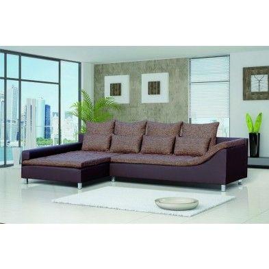 canap angle gauche en simili cuir et tissu chin coloris. Black Bedroom Furniture Sets. Home Design Ideas