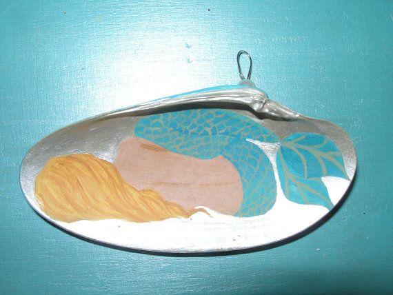 Hand painted sleeping Mermaid shell ornament by MermaidBeachPad