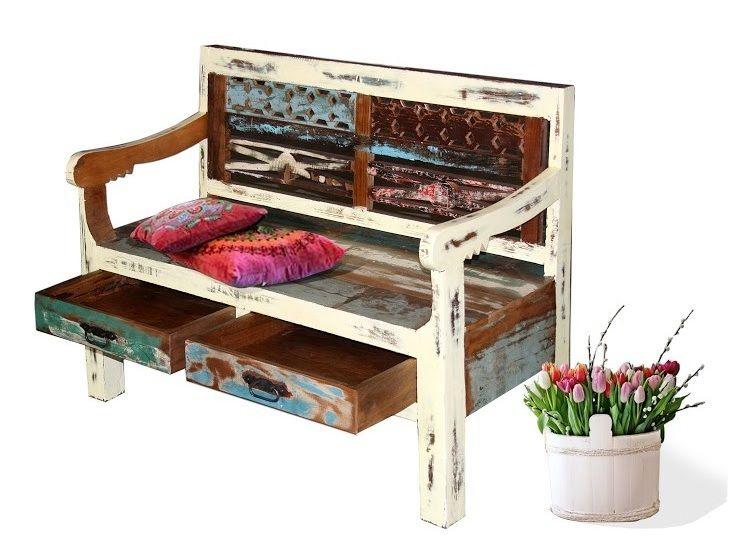 Exotische Sitzbank GRANT mit Lehne und 2 Schubladen in crème Farbe - küchenwagen mit schubladen