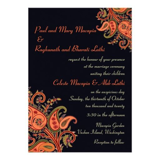 Royal Blue Orange Paisley Floral Indian Wedding Custom Invitation