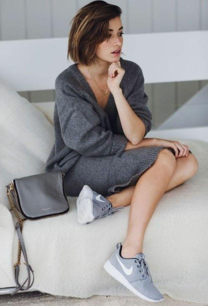 chaussures gris blanc tendances de la mode chez les femmes, robe tricotée  grise 093d829e9a44