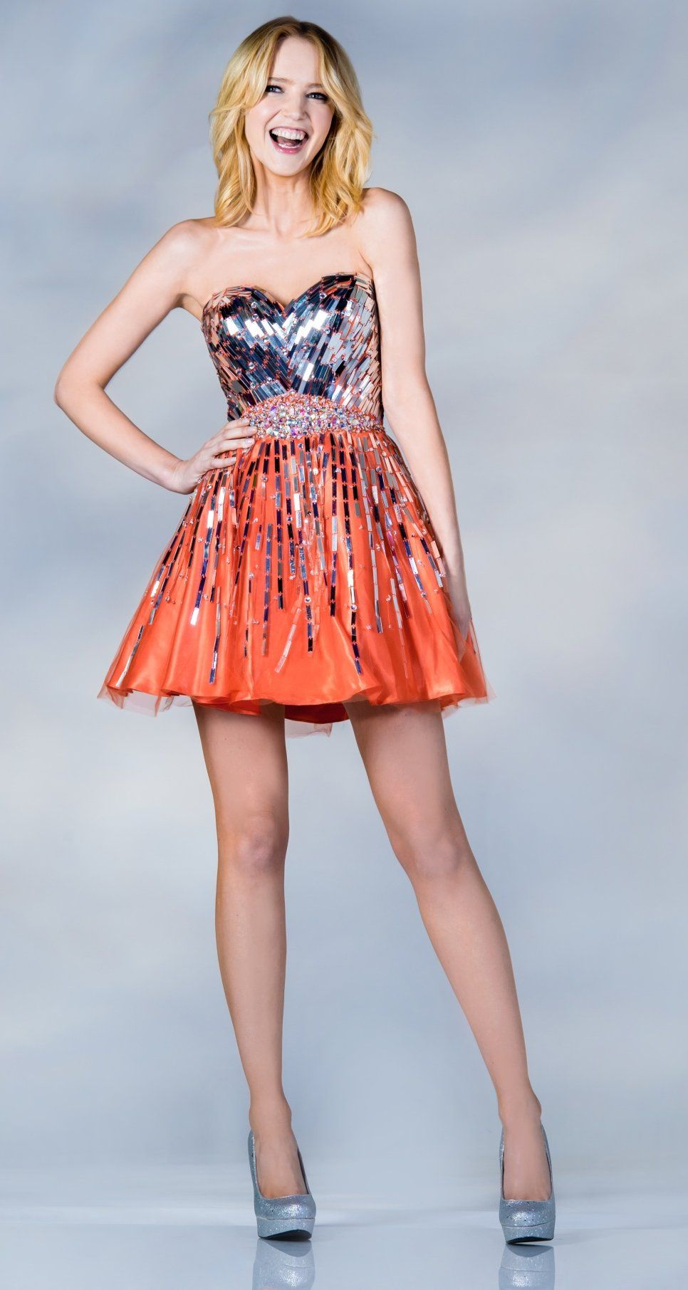 Shiny Panel Metallic Bodice Short Orange Prom Dress ...