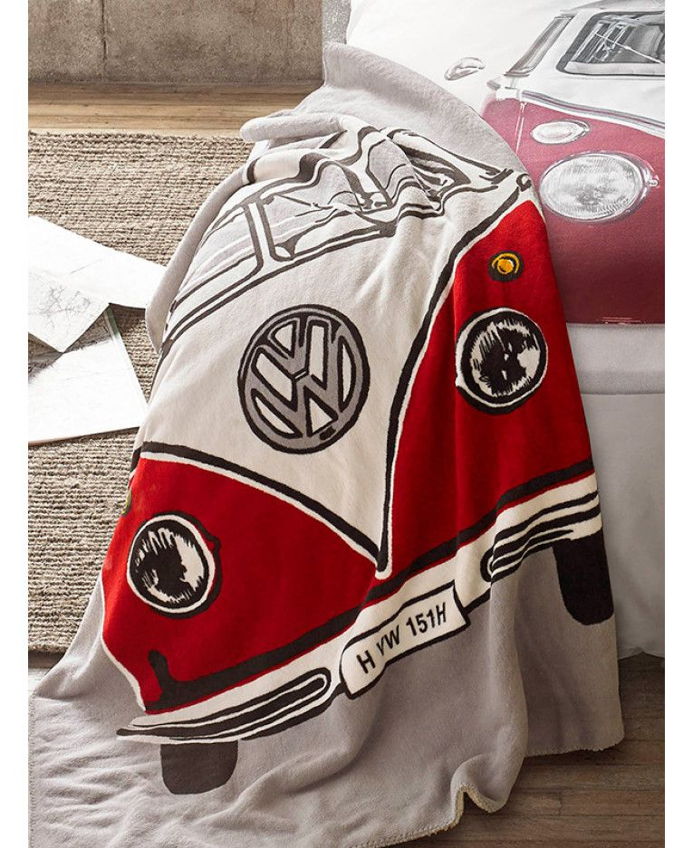 This cool Volkswagen Retro Campervan Throw Blanket features a red and cream  camper on a grey background and is available with free UK delivery 7ebcc0c59