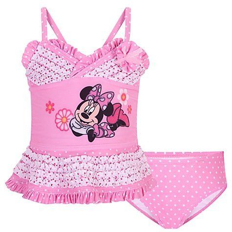 92a1283880 Disney Store Minnie Mouse Swimsuit: Deluxe 2-Piece Tankini Swimwear for  Toddler Girls Size
