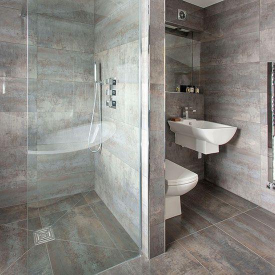 Grey bathroom with walkin shower Dark grey Shower bathroom and
