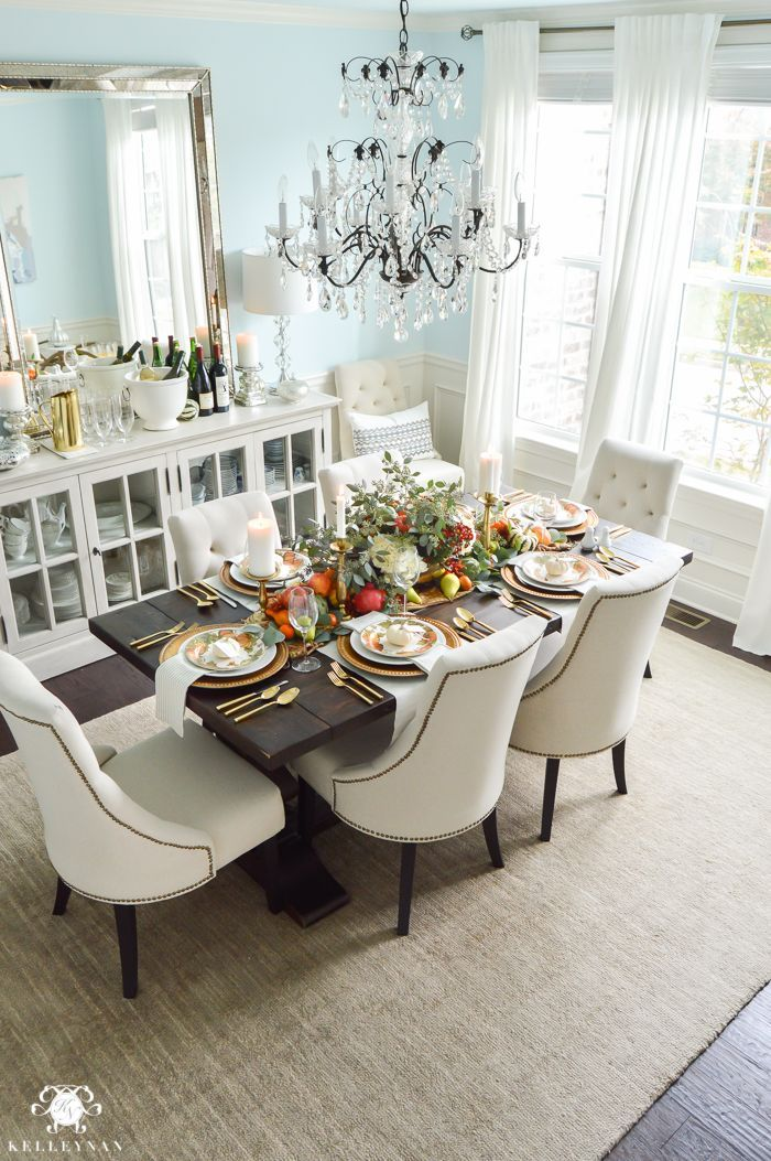 Thanksgiving Dinner Table Ideas Gold Pottery Barn Table