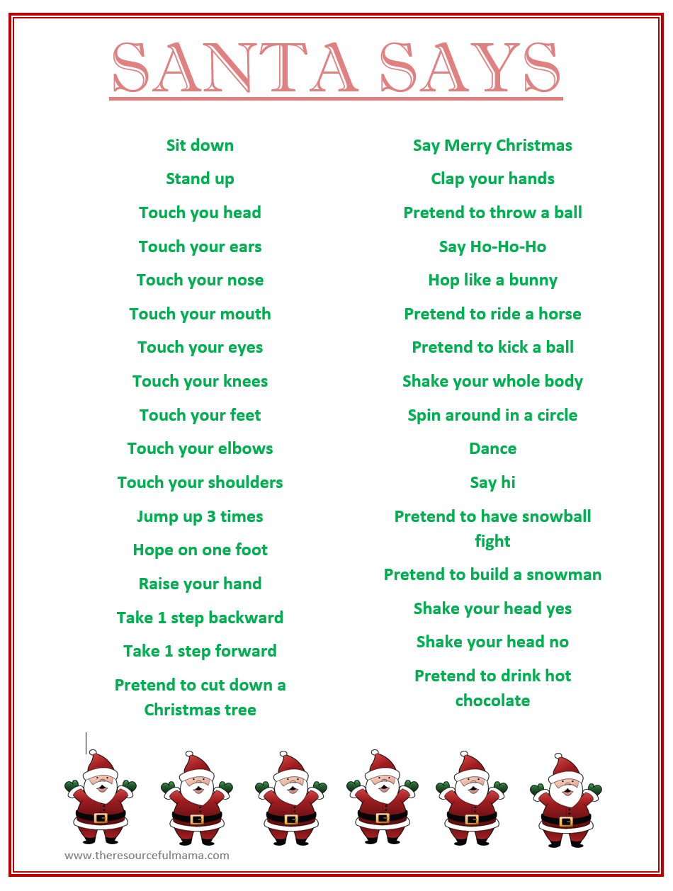 Santa Says Game for Christmas Parties {FREE PRINTABLE | Free ...