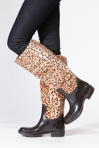 Bamboo Leopard Print Rain Boots   Boots