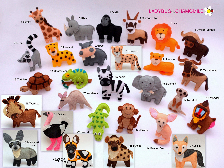 AFRICAN SAFARI ANIMALS felt ornaments, toys, Cake