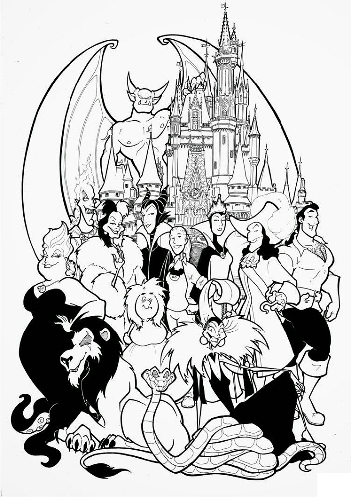 Disney Villains Coloring Pages Disney Scrapbooking Pinterest Disney Coloring Pages Snow White Coloring Pages Coloring Books