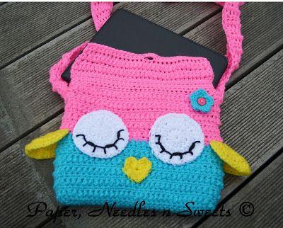 Paper Needles N Sweets Sleepy Owl Ipad Crochet Bag Crochet