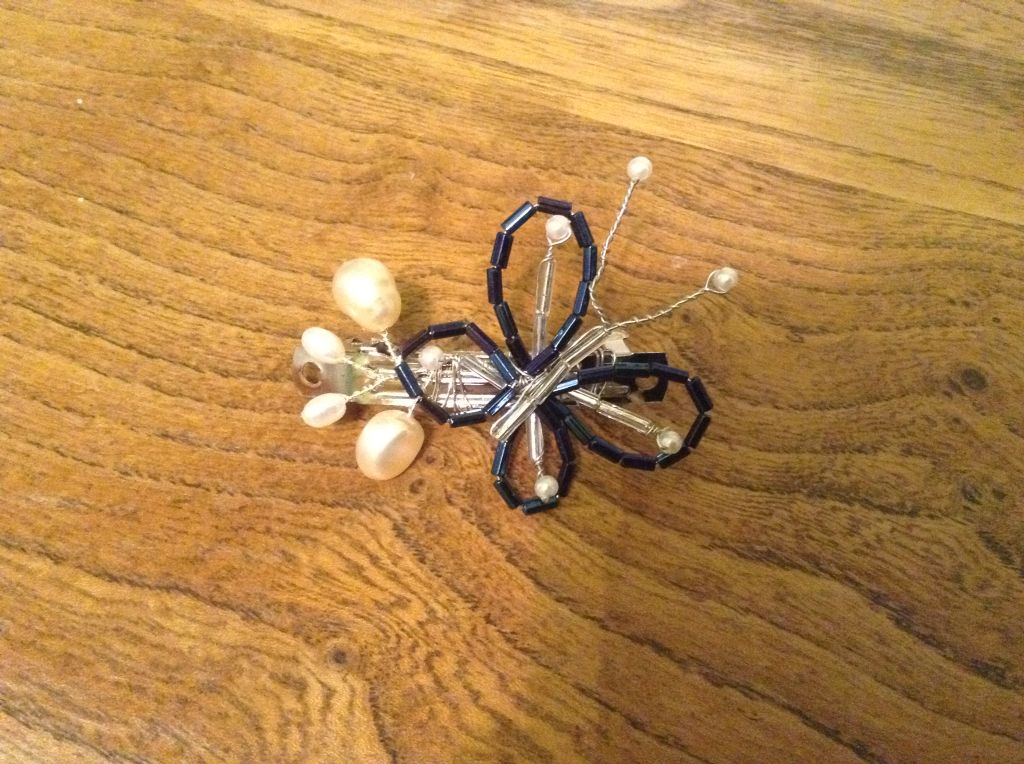 Butterfly wire wrapped hair clip