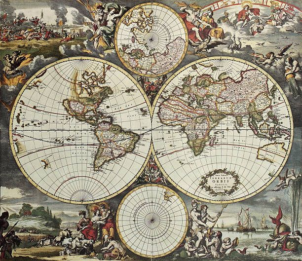 World Hemispheres Old Map Vector Art Illustration World Map Tapestry Antique World Map Ancient World Maps