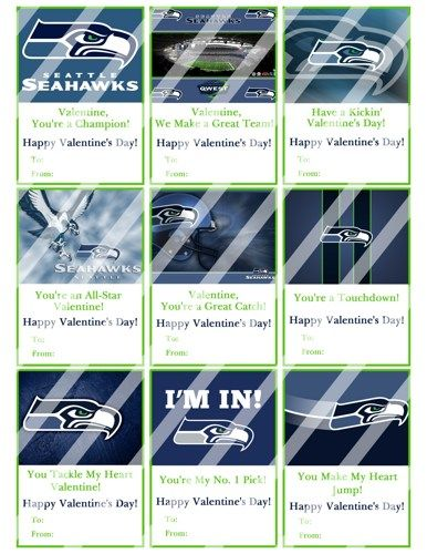 seattle seahawks printable digital valentines day cards 3 - Valentines Day Seattle