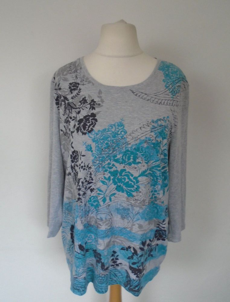 c43aded0210 Bonmarche Grey   Blue Top Plus Size L UK 22 Sparkly Floral Autumn Layering   fashion  clothing  shoes  accessories  womensclothing  tops (ebay link)
