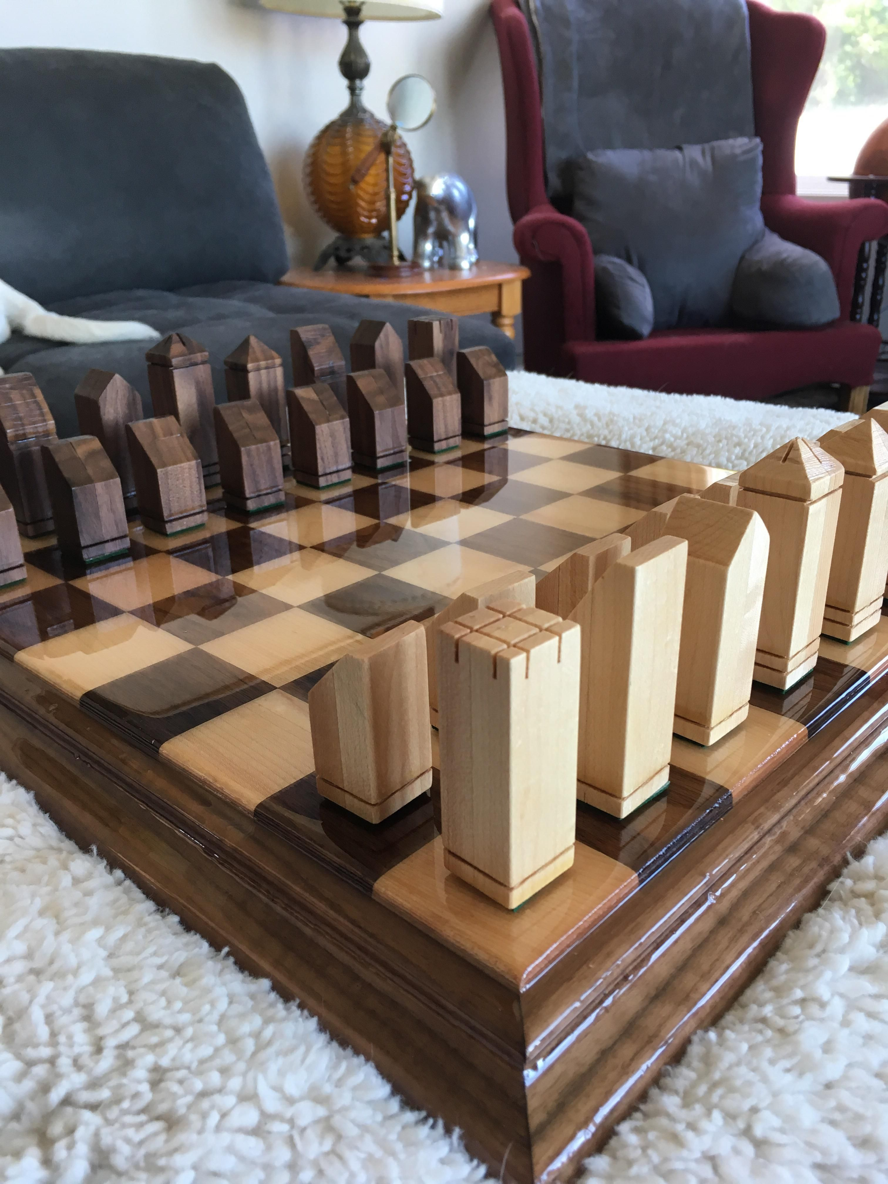 Chess board and set for my fiancés wedding gift. First