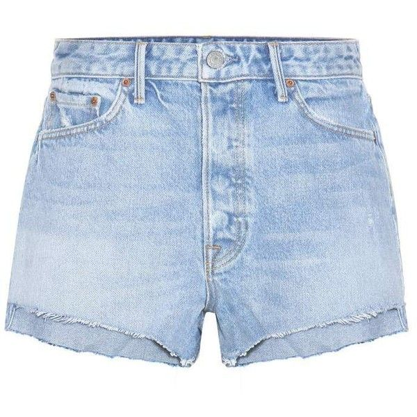 Grlfrnd Cindy High-Rise Jean Shorts (€170) ❤ liked on Polyvore featuring shorts, bottoms, pants, blue, high waisted shorts, blue denim shorts, high rise shorts, blue high waisted shorts and high rise jean shorts