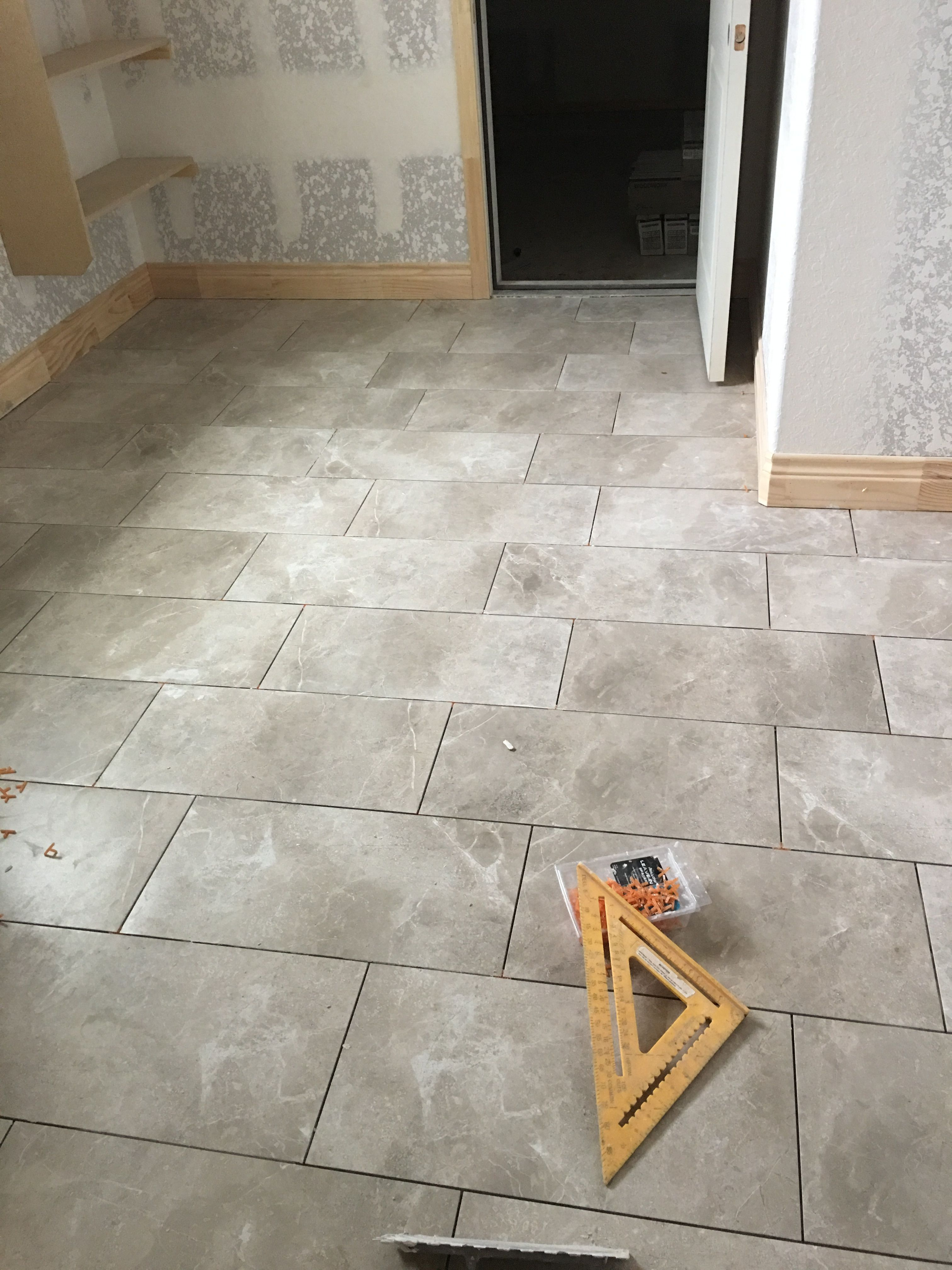 Emser Realm Nation 12 X 24 W 1 8 Grout Lines Currently Ungrouted But Will Be Texrite Chromaflex Canvas House Flooring Emser Flooring