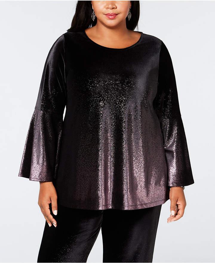 ad91f500408 Alfani Plus Size Metallic Velvet Top