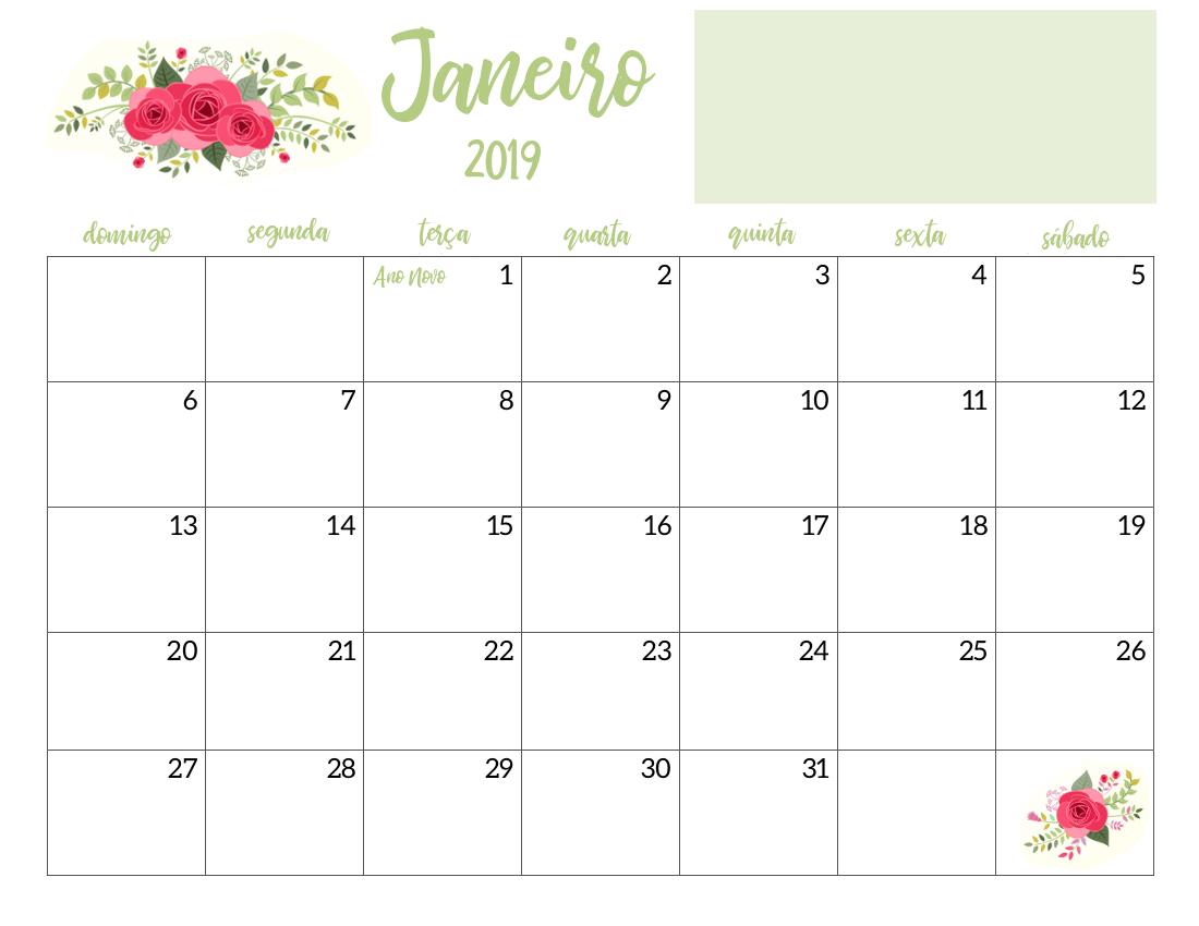 Calendário 2019 Floral Verde Pdf Feriados Nacionais datas