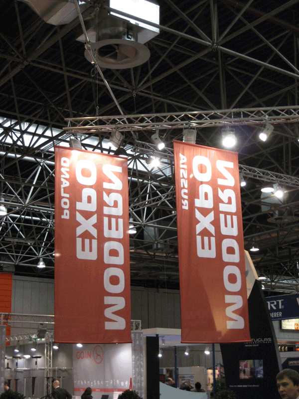 hanging banners in exhibition hall #banners