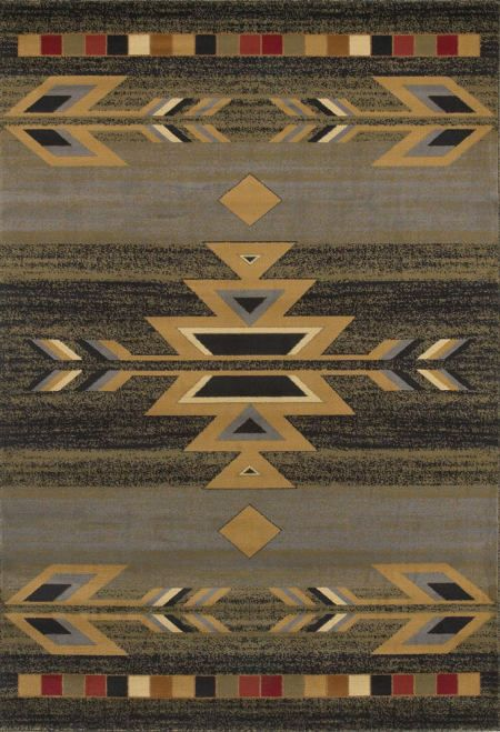 Rio Grande Southwestern Rug Collection Slate Blue Ebony