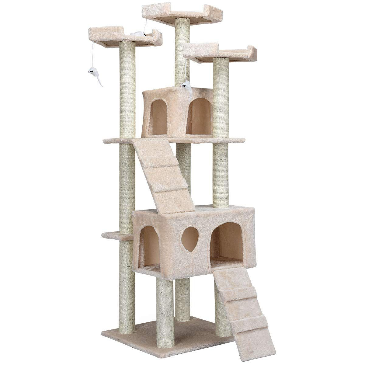 Tangkula Multi Level Sisal Covered Scratching Dangling Large Cat Tree Mouse Toy Large Cats