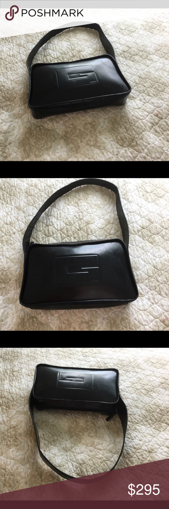 9d9ca33bf6ad7 GUCCI Vintage Black Leather Calf Skin Gucci Purse GUCCI Vintage Bag ...