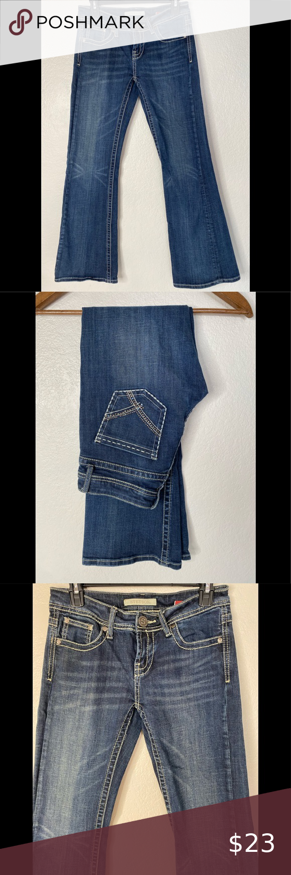"""Stetson Womens Classic Bootcut Blue Jeans size 4 Stetson Womens Classic Bootcut Blue Jeans  style 11-054-0816-0723- BU  No. 816 size 4 Reg Actual Measurements: 30x32 Waist 30"""" Rise 8"""" Hips 36"""" Length 32"""" Embelished rhinestones back pockets  Great pre-owned Condition, see pictures for best description of condition, comes from a clean smoke free environment  Happy to answer any questions  Thank you for looking  Quick handling time Stetson Jeans Boot Cut"""