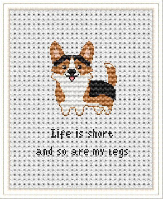 Modern Cross Stitch pattern Funny Corgi Cute Dog Life is short xstitch chart Easy Beginner  PDF Pattern download Dog Lovers Gift Corgi