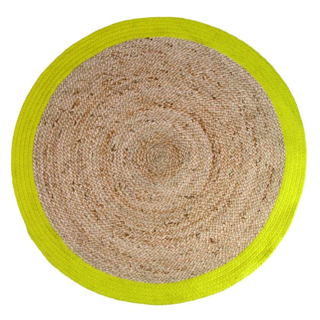 HKliving Tappeto rotondo con bordo giallo Ø120cm