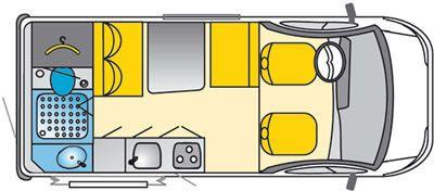 Concorde compacto Van Conversión de autocaravana diurna Plan de distribución de la planta