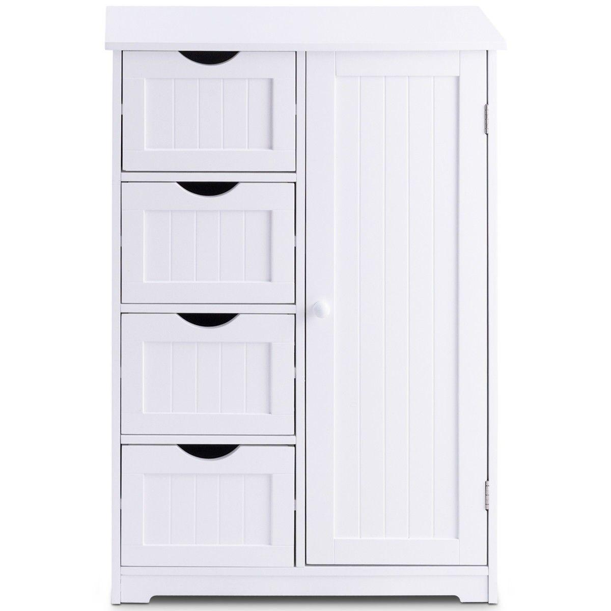 Standing Indoor Wooden Cabinet With 4 Drawers Bathroom Storage