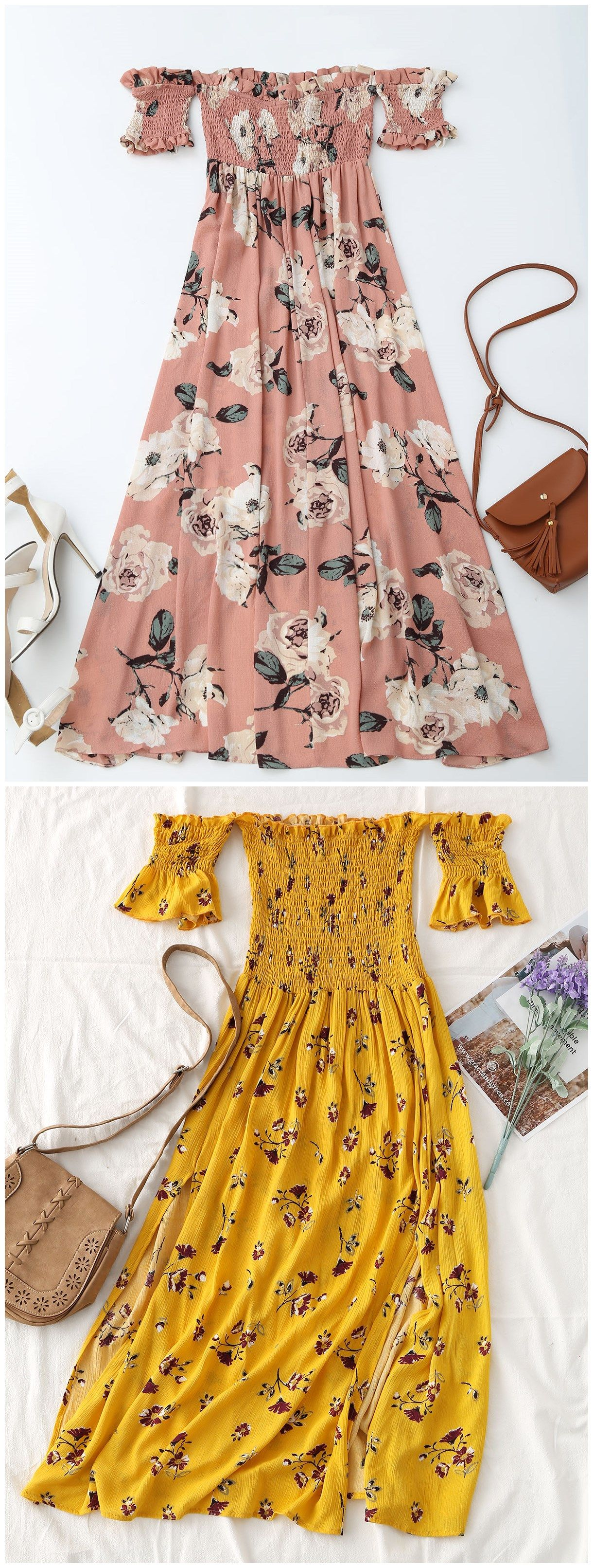 Up to off floral slit smocked off shoulder midi dress zaful